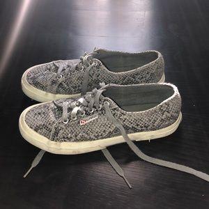 Gray snakeskin superga sneakers